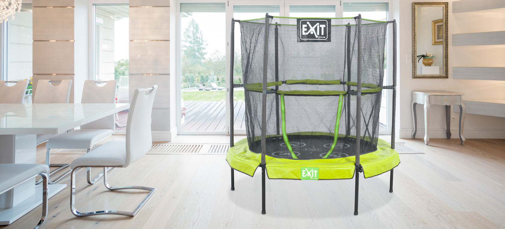indoor trampolin f r kids exit bounzy minitrampolin. Black Bedroom Furniture Sets. Home Design Ideas