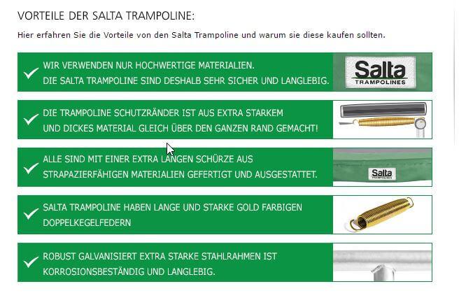 Salta Trampolin Vorteile - neue Marke bei trampolin-profi.de