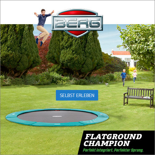 Neuheit 2017 bei trampolin-profi.de: BERG FlatGround Gartentrampolin