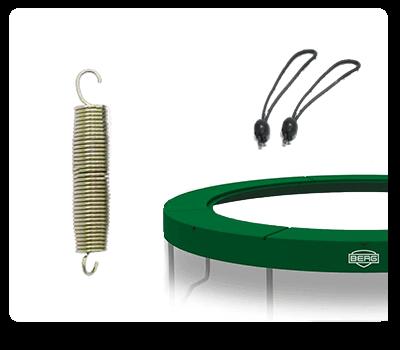 Original Trampolin Ersatzteile kaufen auf trampolin-profi.de - hier Trampolinfedern, Schutzrand, Klammern