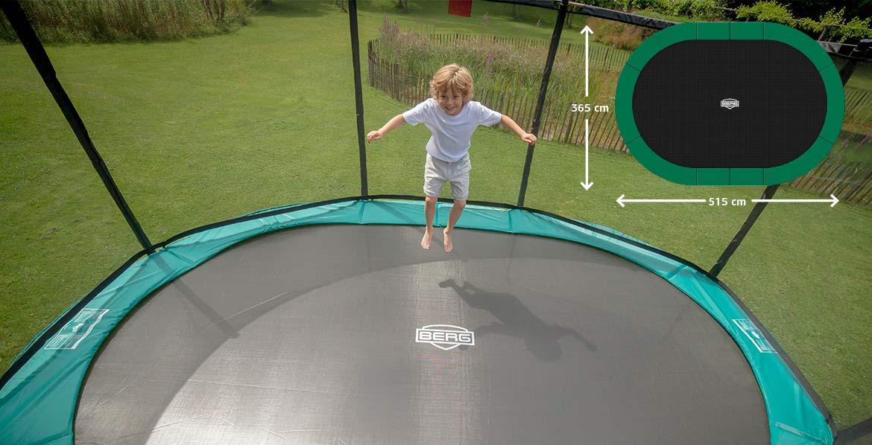 BERG GRAND TRAMPOLIN – die ovale Trampolinform macht doppelten Spaß - Beratung bei trampolin-profi.de