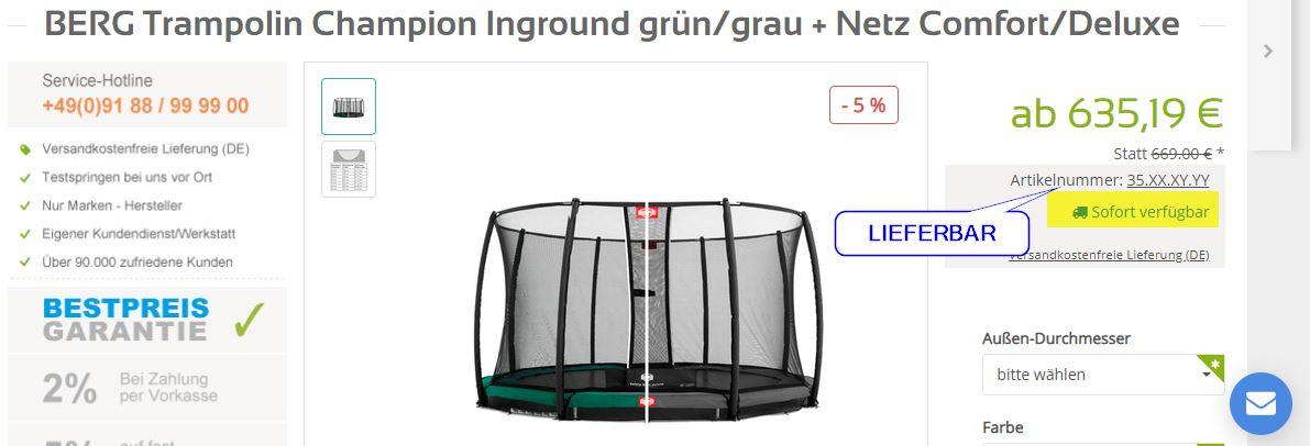 Aktion Spritgeld zum Trampolin - Erklärung Lieferbar - trampolin-profi.de