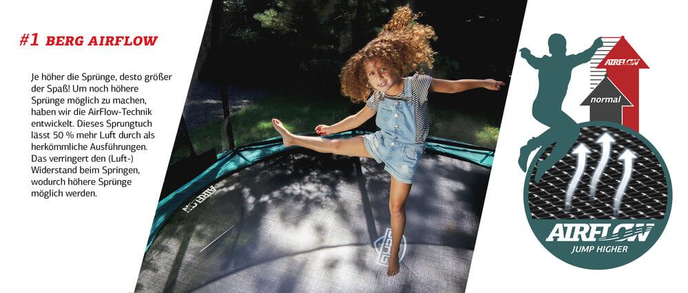 Springen mit Spaß auf BERG Airflow Technologie - Ratgeber trampolin-profi.de