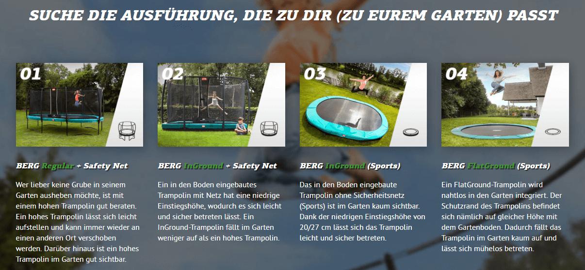 BERG Varianten Trampolin - kaufen auf trampolin-profi.de