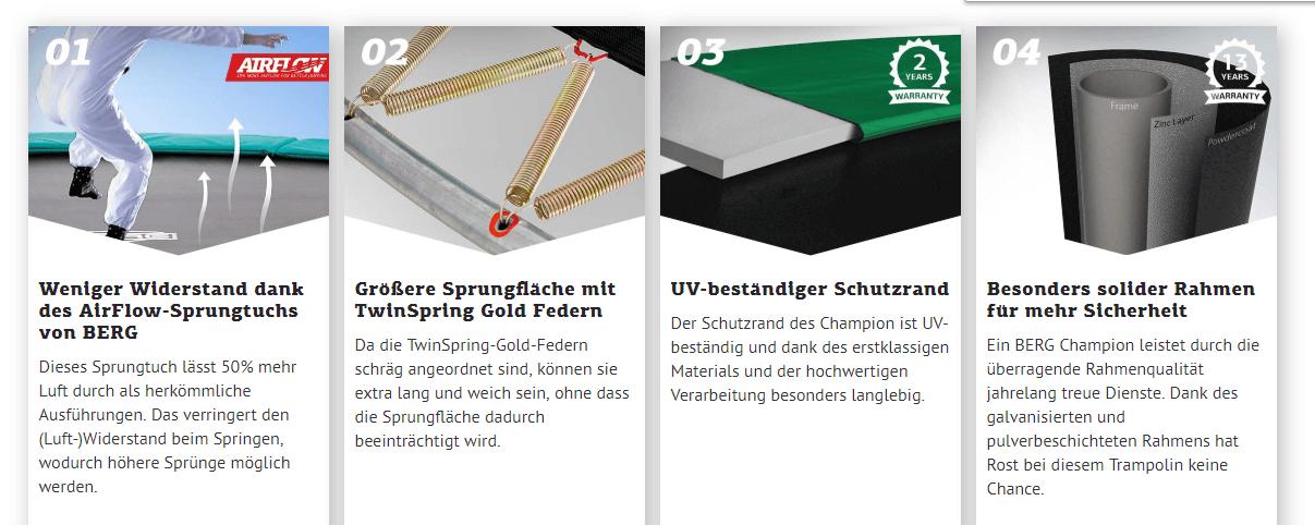 Vorteile BERG Champion Trampolin - kaufen auf trampolin-profi.de