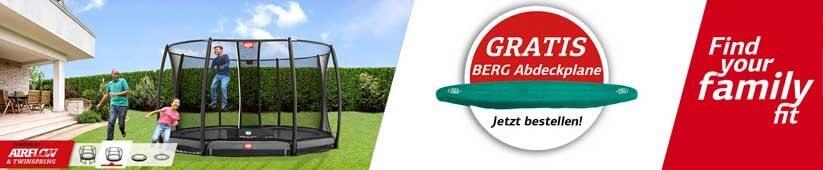 Gratis Abdeckplane zum BERG Trampolin - sichern auf trampolin-profi.de - Sommer 2019