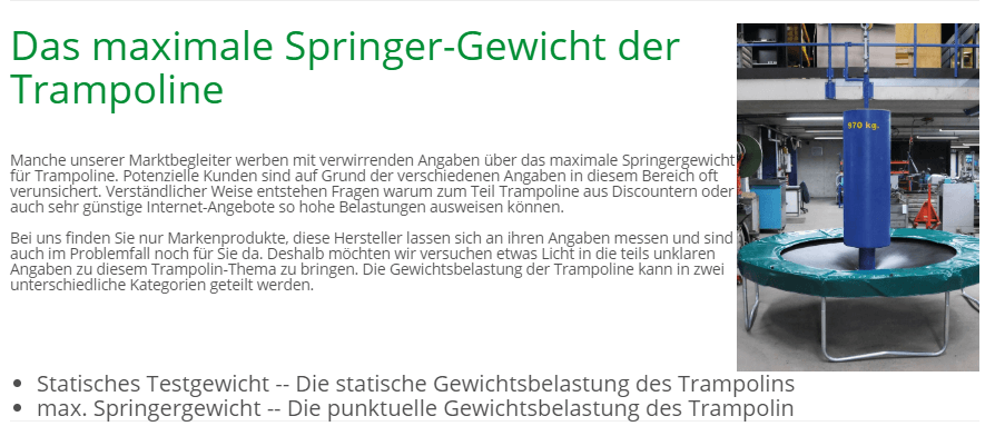 maximales Springergewicht - Erklärung TRAMPOLIN PROFI