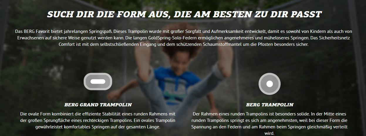 Berg Grand Trampoline oval - jetzt kaufen auf trampolin-profi.de
