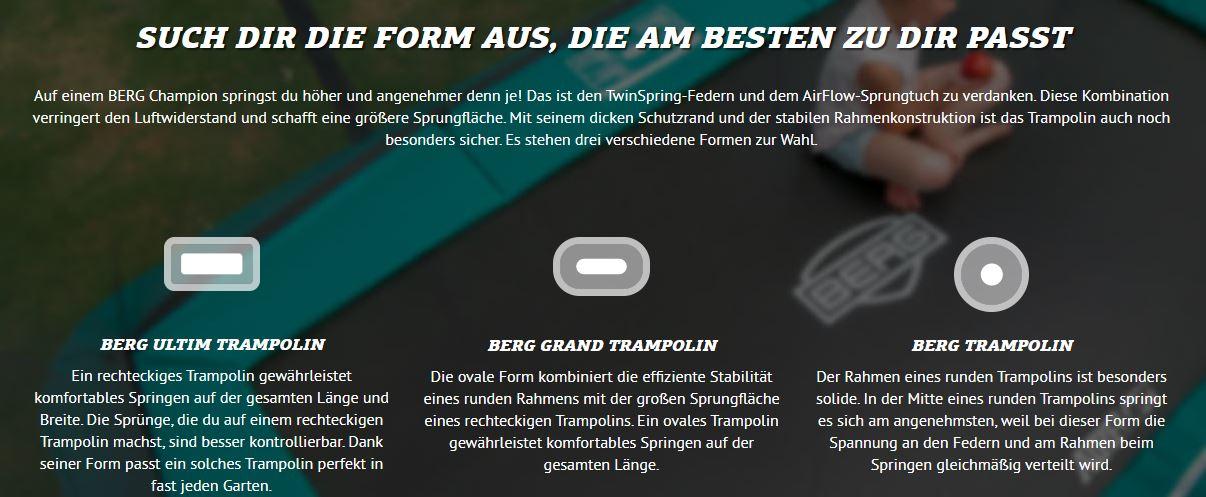 Trampolin Beratung - BERG Trampolin Formen bei trampolin-profi.de