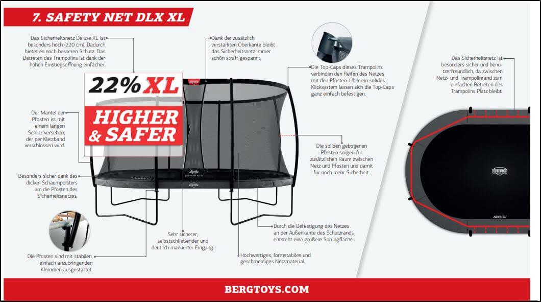 BERG Grand Elite + Safety Net DLX XL - Fachberatung trampolin-profi.de