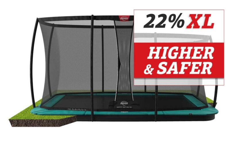 Sicherheitsnetz Deluxe XL - extra hohe Fangnetze von BERG - trampolin-profi.de