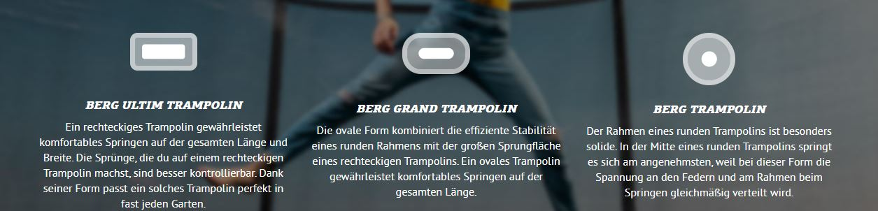 BERG Favorit: die TRAMPOLIN PROFI Modellübersicht