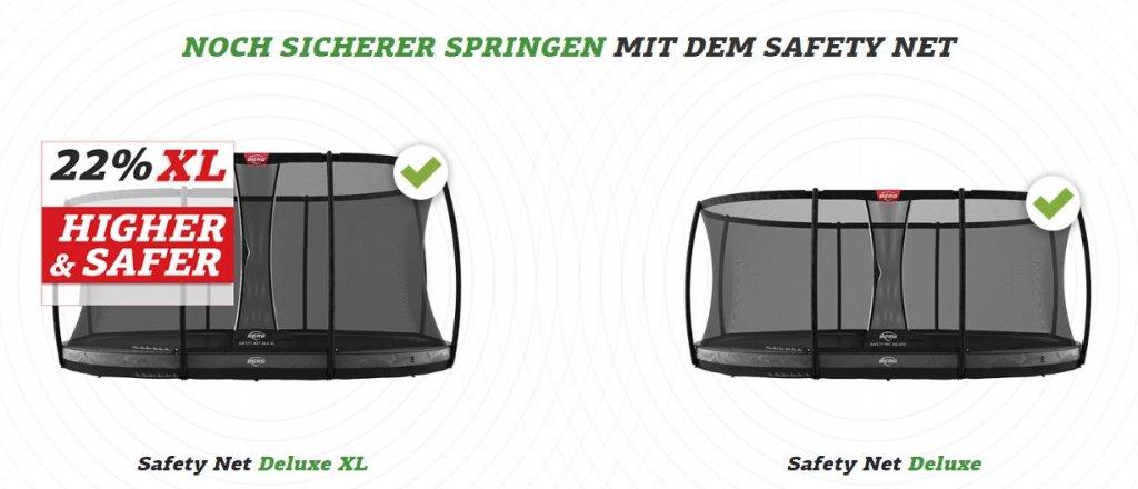 BERG Sicherheitsnetz Deluxe XL oder Deluxe im Vergleich - trampolin-profi.de