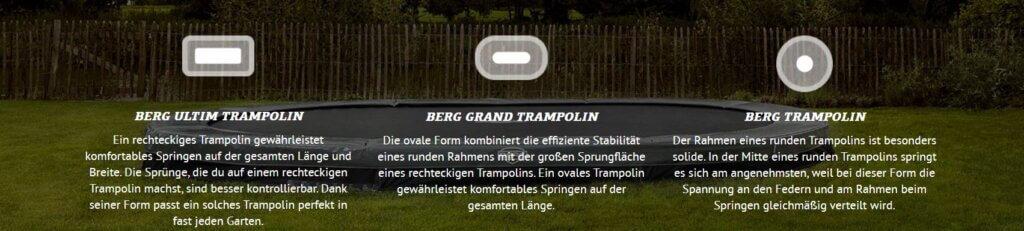 BERG Trampolin - Überblick der Formen - trampolin-profi.de