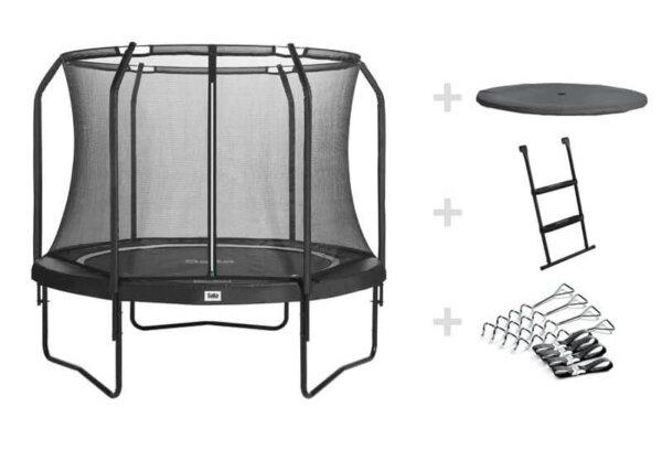 SALTA Trampolin Premium Black Edition Ø 305 cm schwarz mit Netz, Abdeckplane, Leiter + Verankerung - trampolin-profi.de