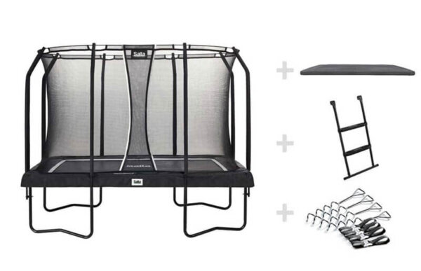 SALTA Trampolin Premium Black Edition rechteckig 214 x 305 cm inkl. Abdeckplane + Leiter + Verankerung - Top Angebot bei trampolin-profi.de