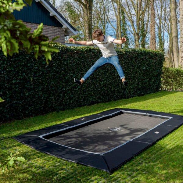 EXIT Trampolin Dynamic Ground Level rechteckig mit Netz oder Fallschutz - kaufen auf trampolin-profi.de