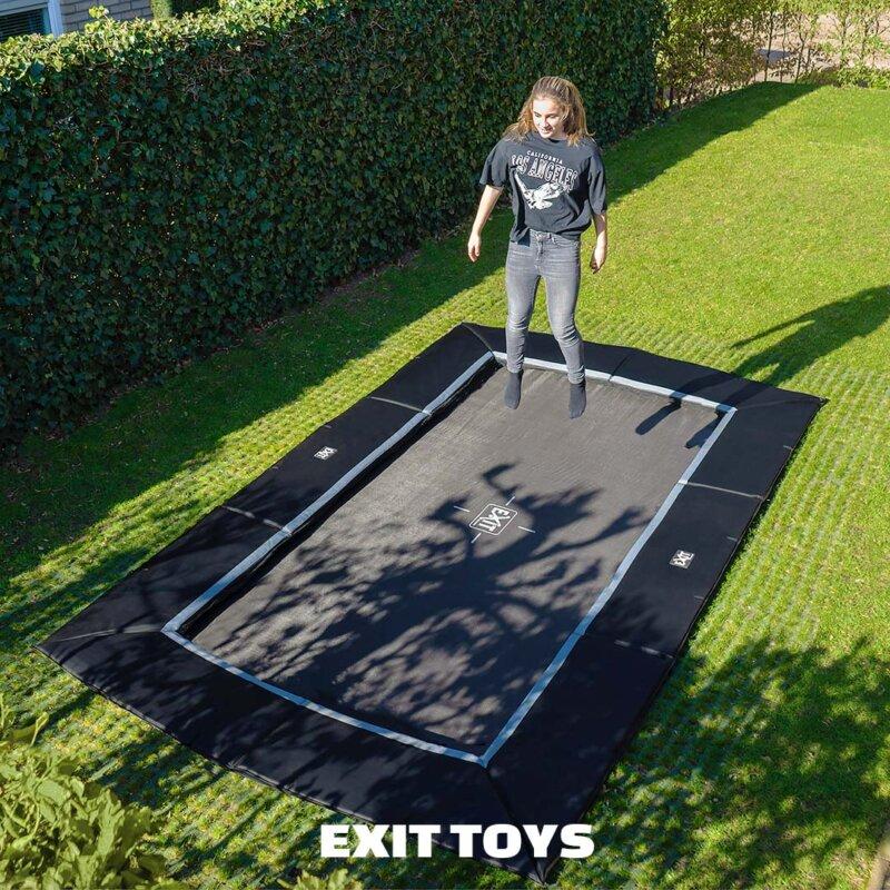 FlatGround Trampolin Dynamic von EXIT Toys inkl. Fallschutzmatten - trampolin-profi.de