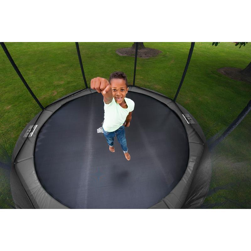 BERG Trampolin Elite Ø 430 cm InGround grau mit Netz Deluxe