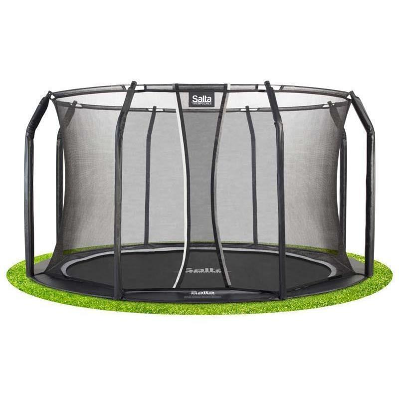 Salta Bodentrampolin Royal Base Ground Ø 427 cm schwarz mit Sicherheitsnetz