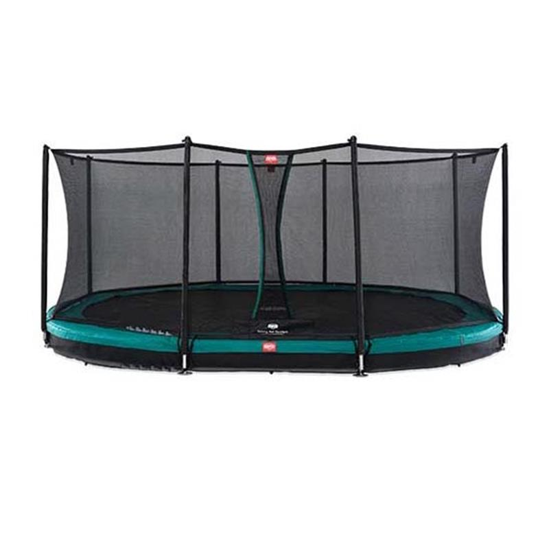 BERG Trampolin Grand Favorit oval 520 x 345 cm Inground grün mit Sicherheitsnetz Comfort