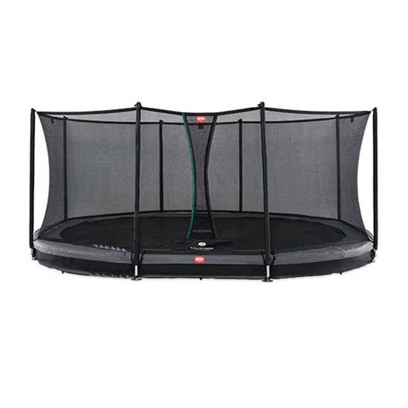 BERG Trampolin Grand Favorit oval 345 x 520 cm Inground grau mit Sicherheitsnetz Comfort
