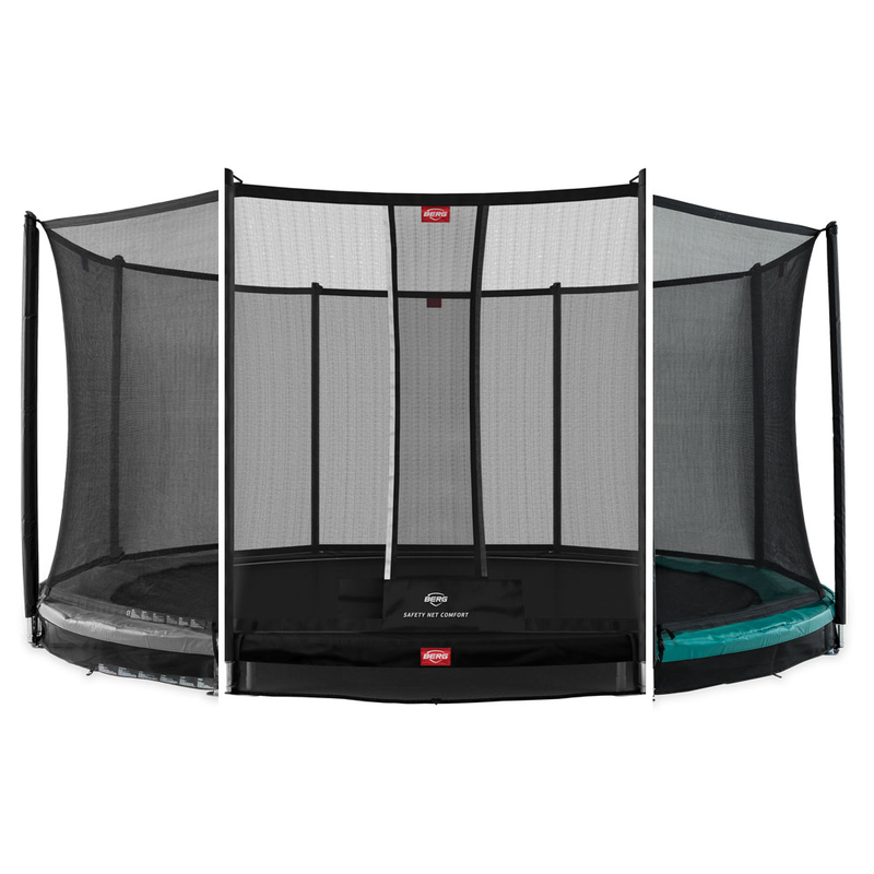 BERG Trampolin Favorit Inground grün/grau + Netz Comfort/Deluxe