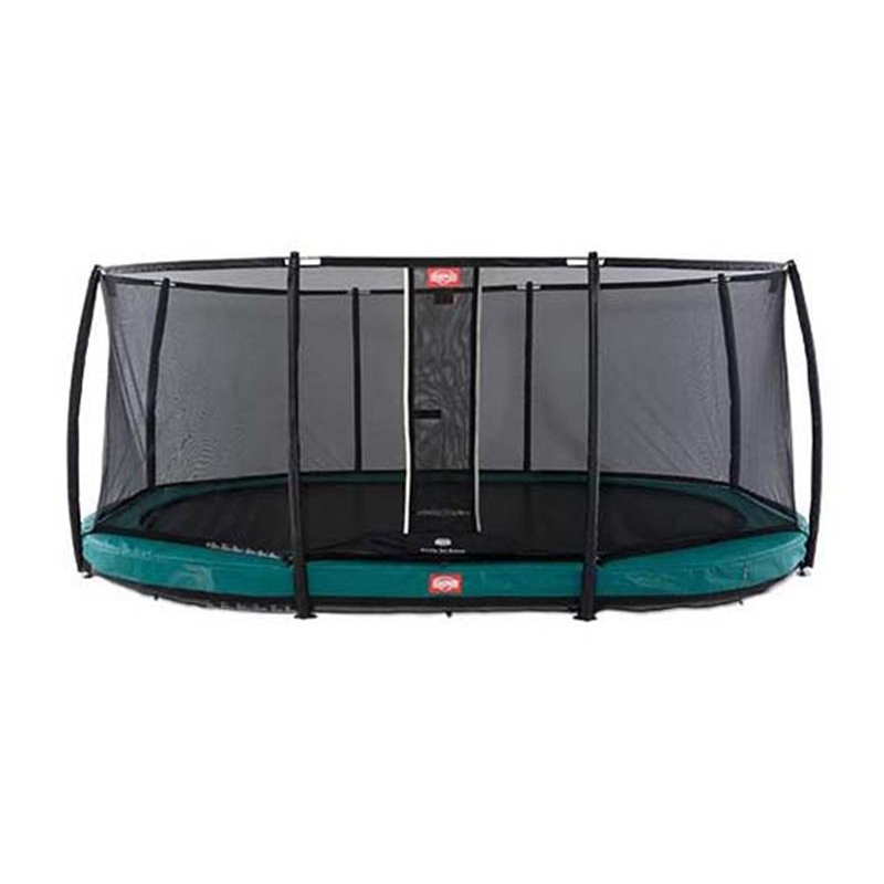 BERG Trampolin Grand Champion oval Inground Sports 250 x 350 cm grün + Netz Deluxe