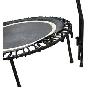 Das Fitnesstrampolin Joka Fit in der speziellen Ausführung Cacau schwarz/weiß.
